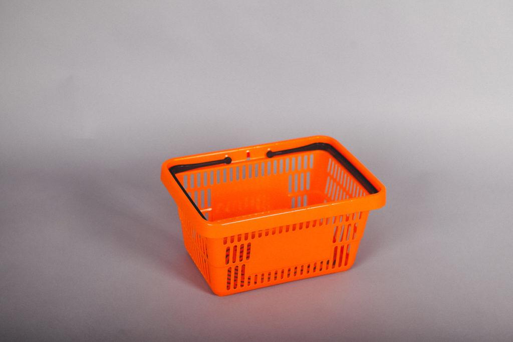 Корзина покупательская пластиковая 20 литров оранжевая