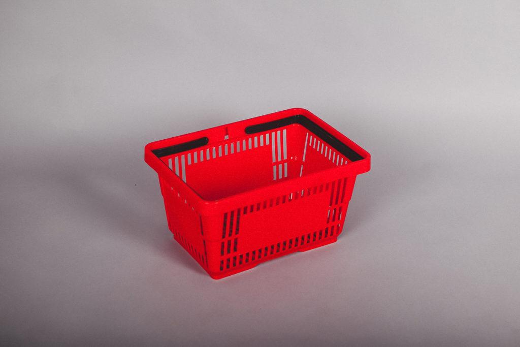 Корзина покупательская пластиковая 20 литров красная