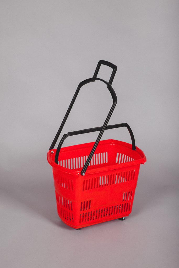Корзина-тележка пластиковая на колесах 32 литра